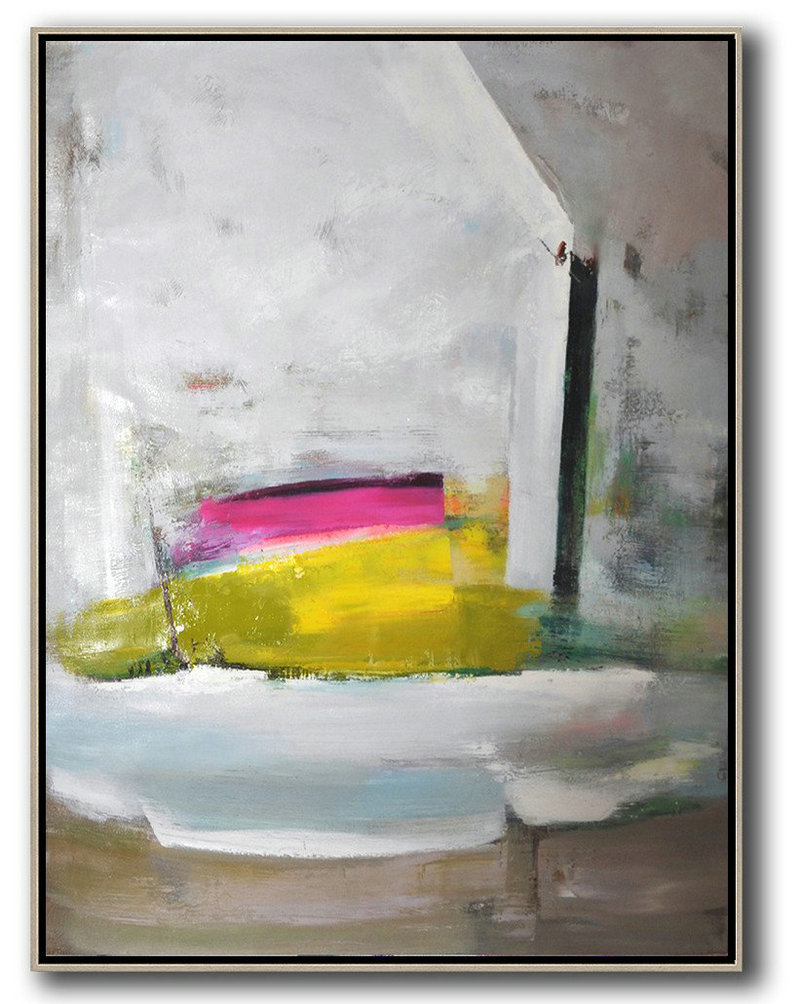 Extra Large Canvas Art,Handmade Acrylic Painting,Vertical Palette Knife Contemporary Art,Modern Paintings On Canvas,Grey,White,Yellow,Pink.etc
